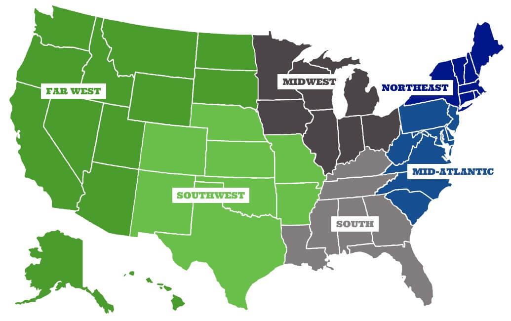 Heisman Scholarship Region Map